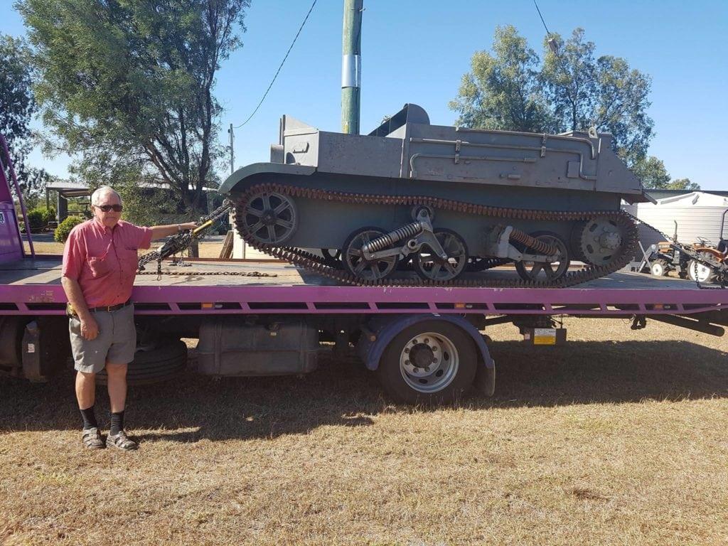 Vulcan truck towing WW2 tank